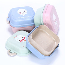 wheat straw square shape kids child lunch box with lock