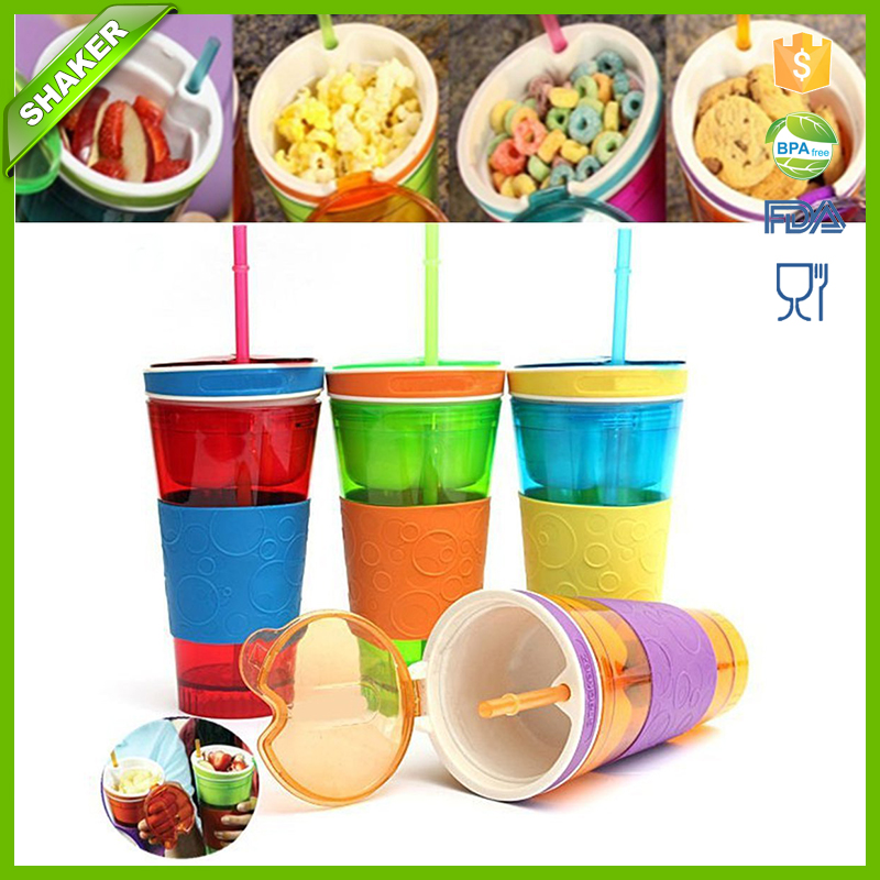 500ml 2in1 Travel Snack Drink Cup Bottle Container Lid Straw for Adult Kids Cinema <strong>sport</strong>