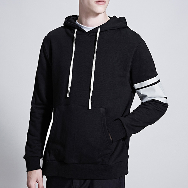 Black side zipper white stripe hoodies & sweatshirts