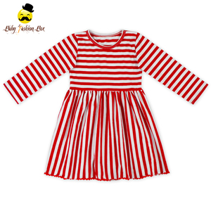 Boutique Red White Stripe Christmas Dresses For Kids Baby Cotton Frocks Designs Girls Party Dresses
