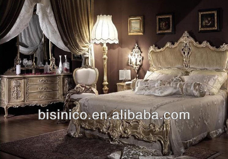 Neo classical European style hand carving wooden bedroom double bed