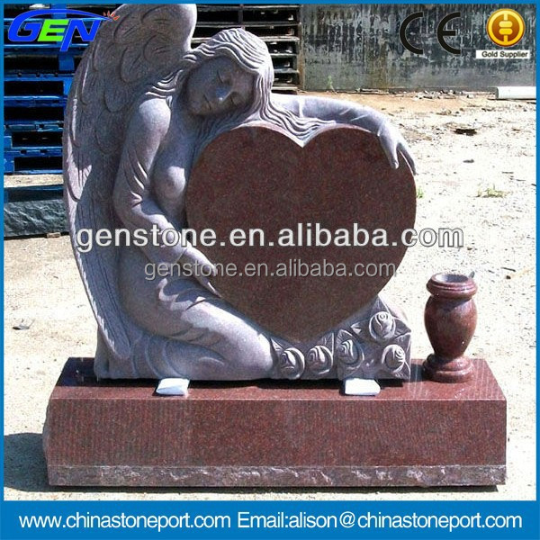 Hot Angel Shaped Red Granite Tombstone Monuments