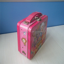 cartoon role printing kids tin lunch box with clip and handle