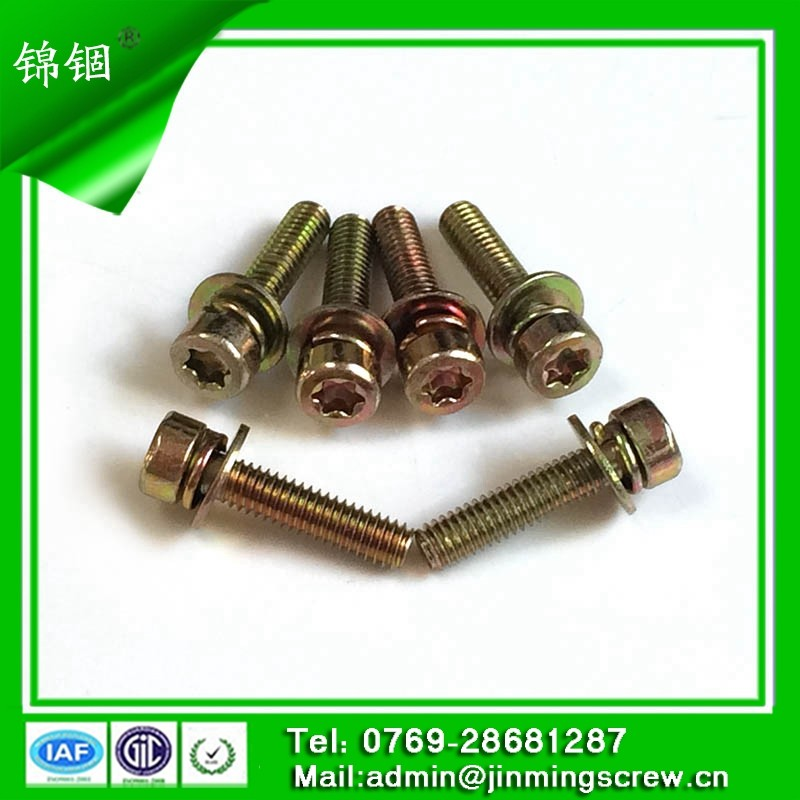 china screw factory torx recess cap galvanized colorful plated screw with pring washer and flat washer