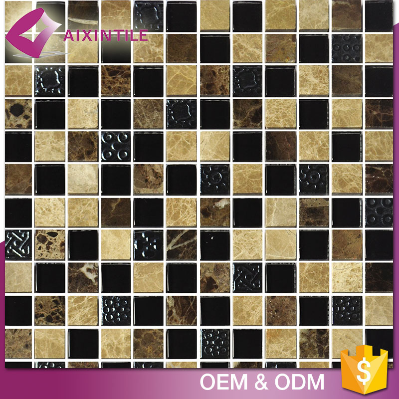 House Designs Ceramic And Glass Mix Nature Stone Mosaic Tile