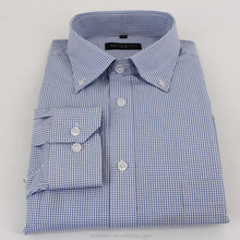 Fancy Design 65 Polyester 35 Cotton Plaid Men Shirt