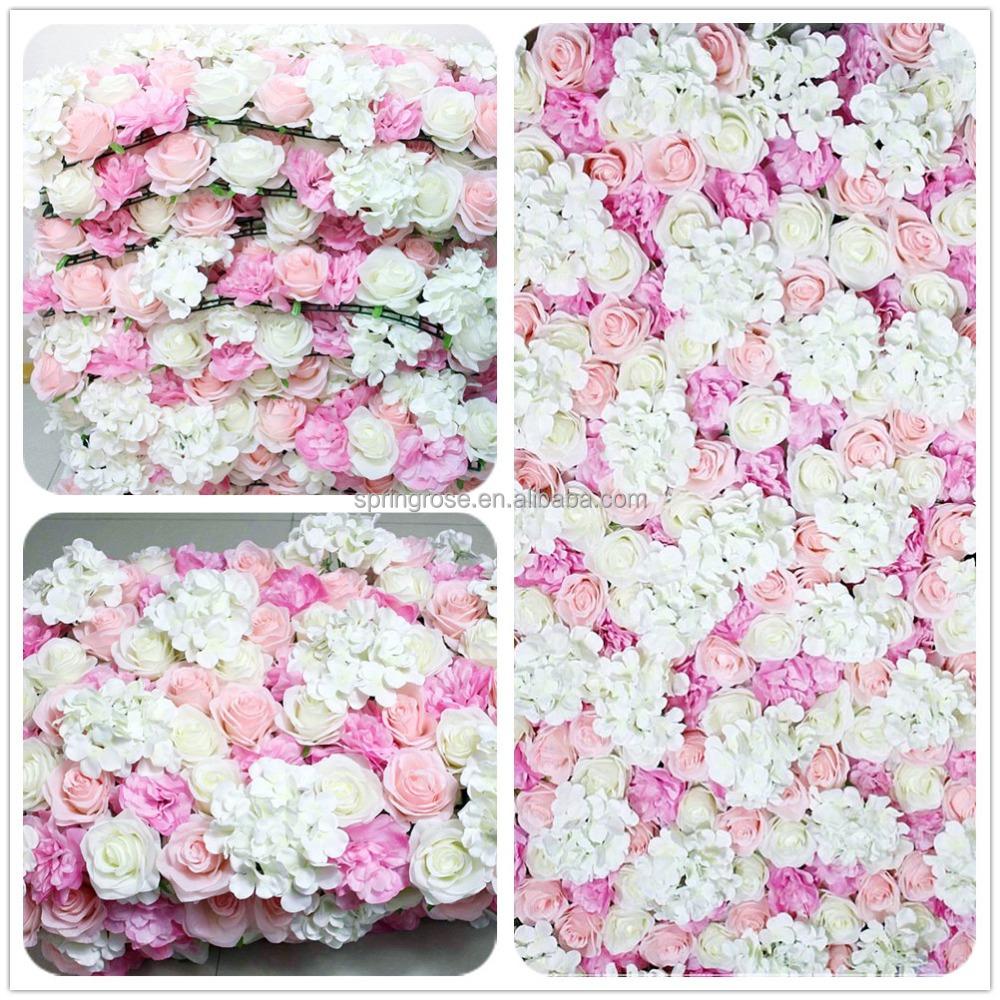 Spr Hot Sale Wedding Hydrangea Rose Flowers Wall Wedding Decor Pink