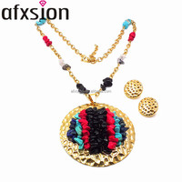 Christmas hot jewelry, AFXSION fashion charm round golden 18K stainless steel jewelry set for women