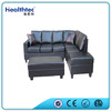 Healthtec black Leather corner recliner sofa with chaise lounge OEM