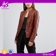 2017 High Fashion Design Women Red Long Sleeve Front Zipper Vintage Winter Dubai Leather Jacket