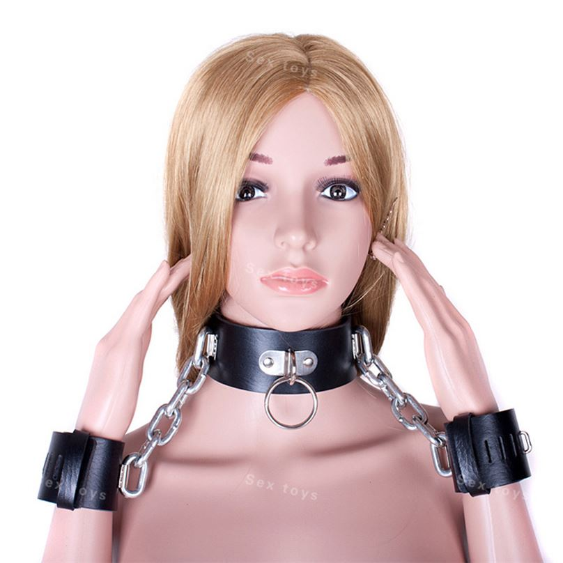 Heavy Metal Collars for Se with Handcuffs for Women Adult Game Se Toys Bed Restraints Kit S&M Fetish Se Products for Couples