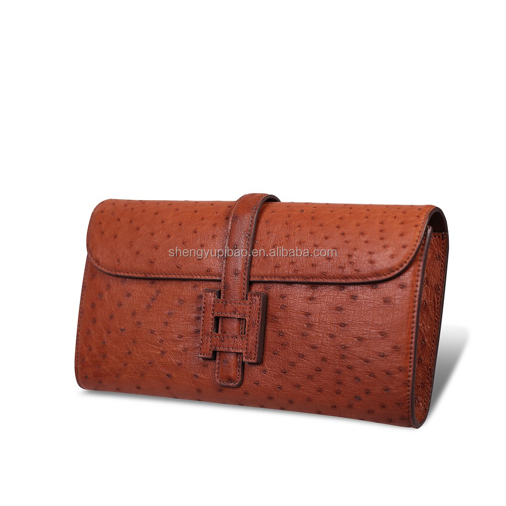 Latest New Factory Direct Price Genuine ostrich Leather Wallet Manufacturers Women Clutch bag