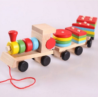 Montessori Toys Wooden Stacking Shape Geometry Blocks Train Diecasts Vehicle Set Combination Educational Toys Kids