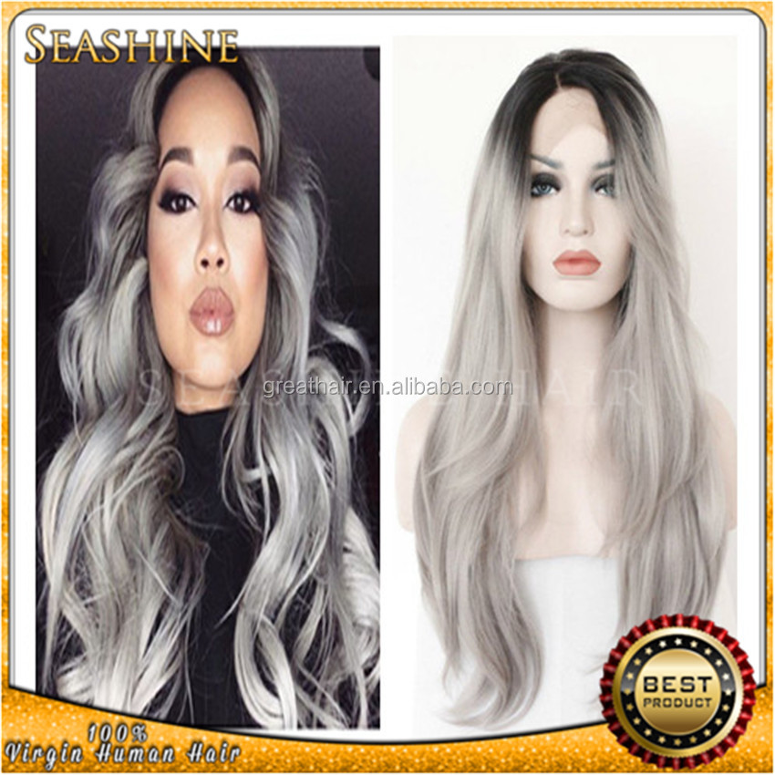Wholesale Hair Ombre Silver Grey Synthetic Lace Front Wig Glueless Long Natural Black/Gray Heat Resistant Hair Wigs For Women