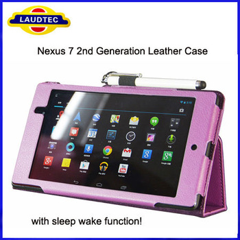 2013 New Leather Case for Google Nexus 7 2 Generation, with Holder Stand and Smart Sleep Wake Function for Nexus 7 II Laudtec