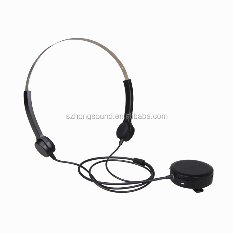 2017 latest headband wired headset with hearing aid function Bone conduction headphone with sound amplifier