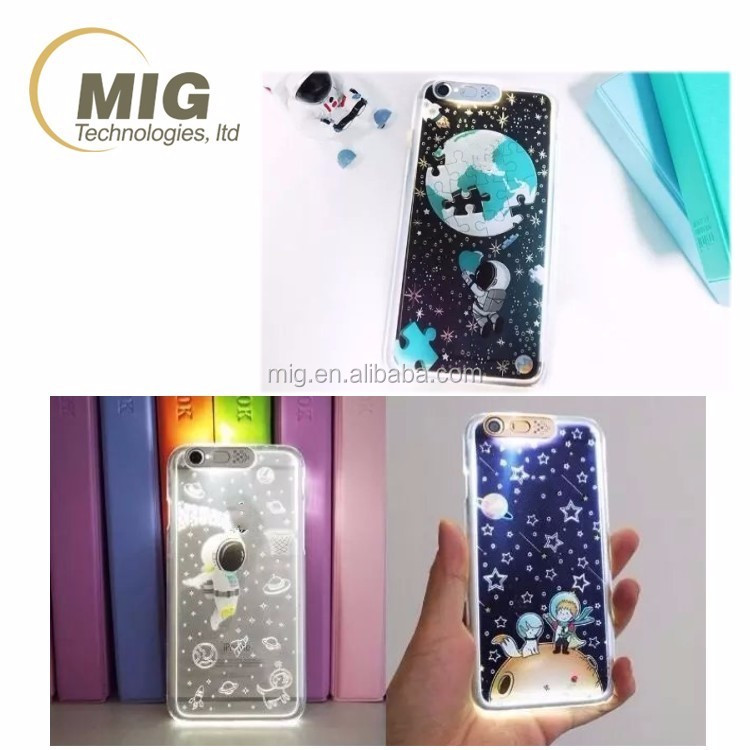 Colorful Flashing LED Tube Light Mobile Phone Case Cover For girls and used for iphone 6 6s 6plus 6splus