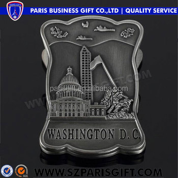 US 3d clamp shape silver metal fridge magnet country