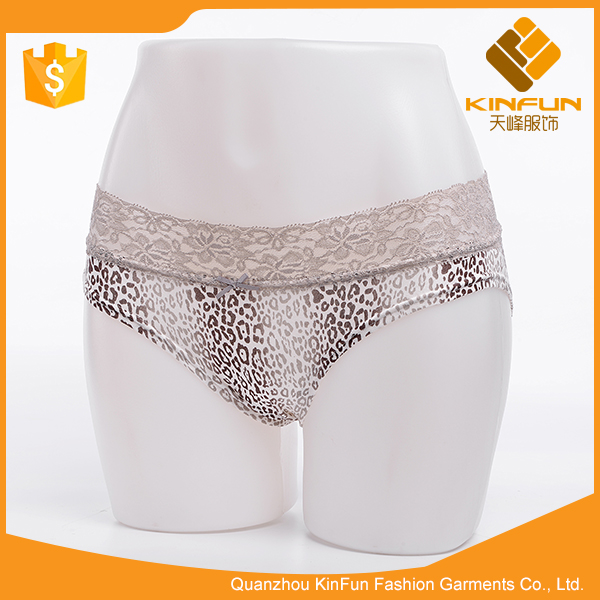French style gray leopard breathable comfortable underpants women