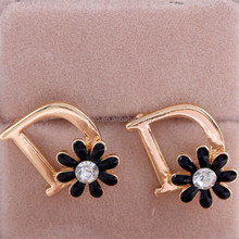 2019 New Products Hot Sale Fashion Black Enamel Flower On Letter <strong>D</strong> Drop Earrings
