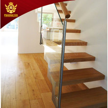 Home Inside Straight Stair Case Modern Indoor Small Space Stairs Stainless Steel Wooden Straight Staircase