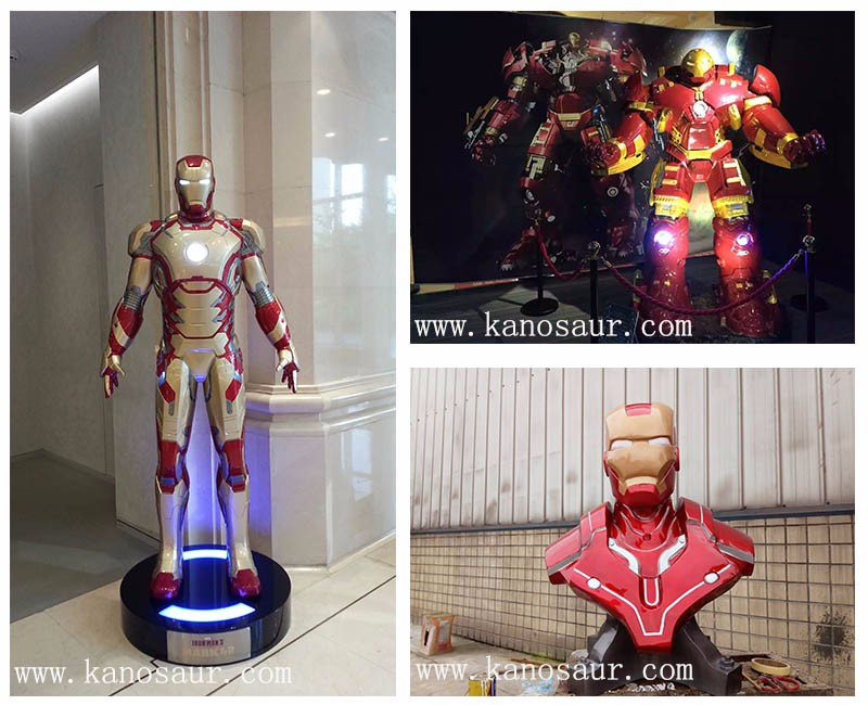KANO0551 Children Playground Decorative Fiberglass Iron Man Statue