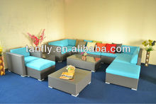 Modern outdoor sectional sofa set with ottoman and coffee table