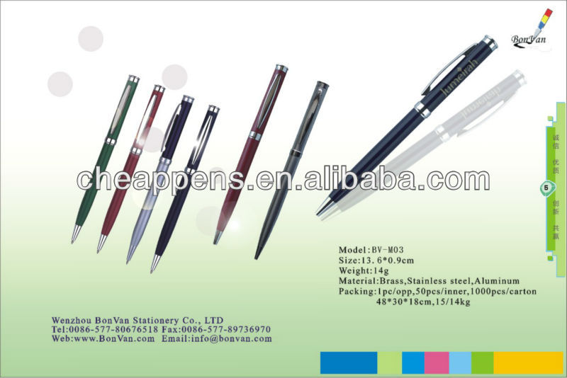 firm metal glass breaking tactical ball pen for self defense with pointed tip