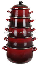 Wonderful Dark Red Chinese Enamel cookware Pot Set Decal Enamelware Stew Pot With Black Bottom