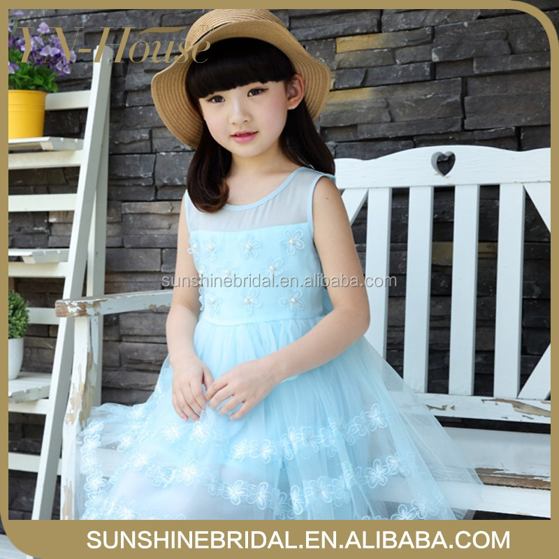 New latest modern girls dresses girls boutique dress with sleeveless special ruffled pernickety fancy girl dress
