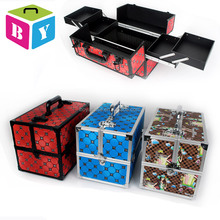 Professional medium size aluminum frame beauty vanity make up cosmetic box train case with extendable trays locks