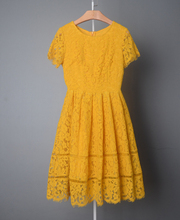 Fat Women Casual Lace Dress Yellow Cap Sleeve Skater Lace Dress Patterns