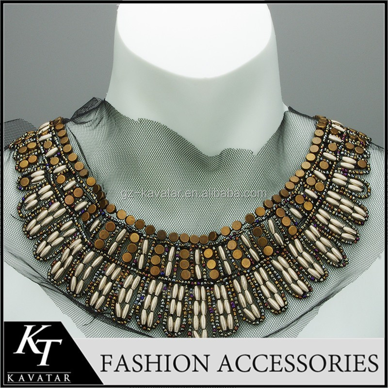 New product shining metallic fashion neck beads collar/neck piece dress beading patterns for ladies dress