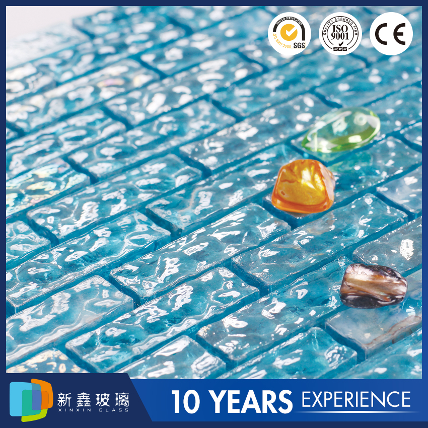 Blue triangle OEM service ceramic mosaic glass mix stone tile