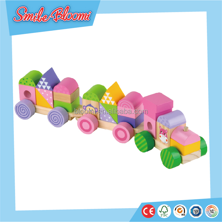 2016 Preschool Colorful Wooden Kids train toys,educational toys Stacking Train