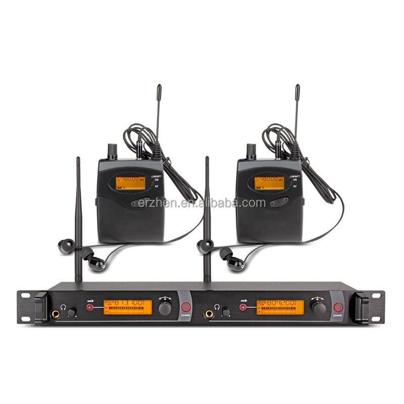 Lapel microphone +2 group receiver + wireless headset monitoring system, professional dual transmitter + stage monitoring system