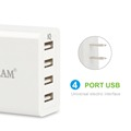 4 port USB wall charger travel charger with smart charging technology