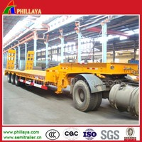 Heavy duty tri-axle timber truck trailer with lowbed loading deck