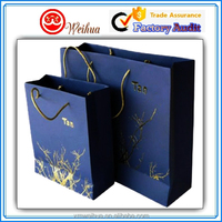 Custom UV printed High rank purple paper gift shopping bag with handles
