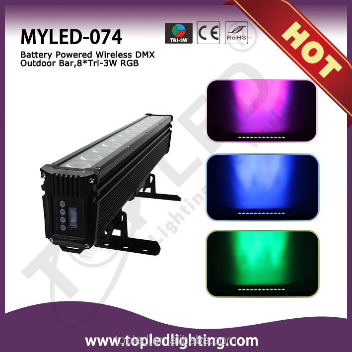 Professional IR remote led bar DMX 8pcs tri-in-1 3W RGB leds outdoor bar light stage with IR remote control and battery