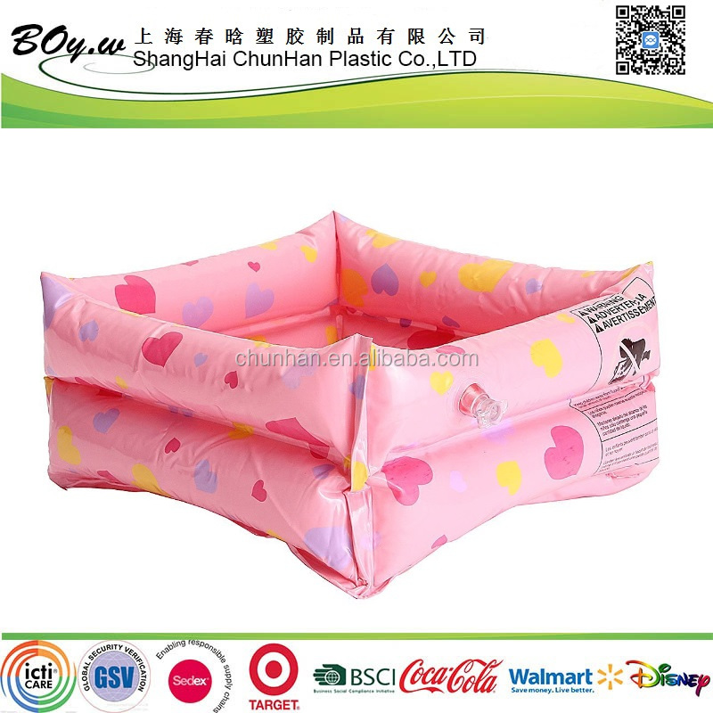Gold suppler testing heart care relax air basin massaging feet bath tub spa pink pvc inflatable foot basin