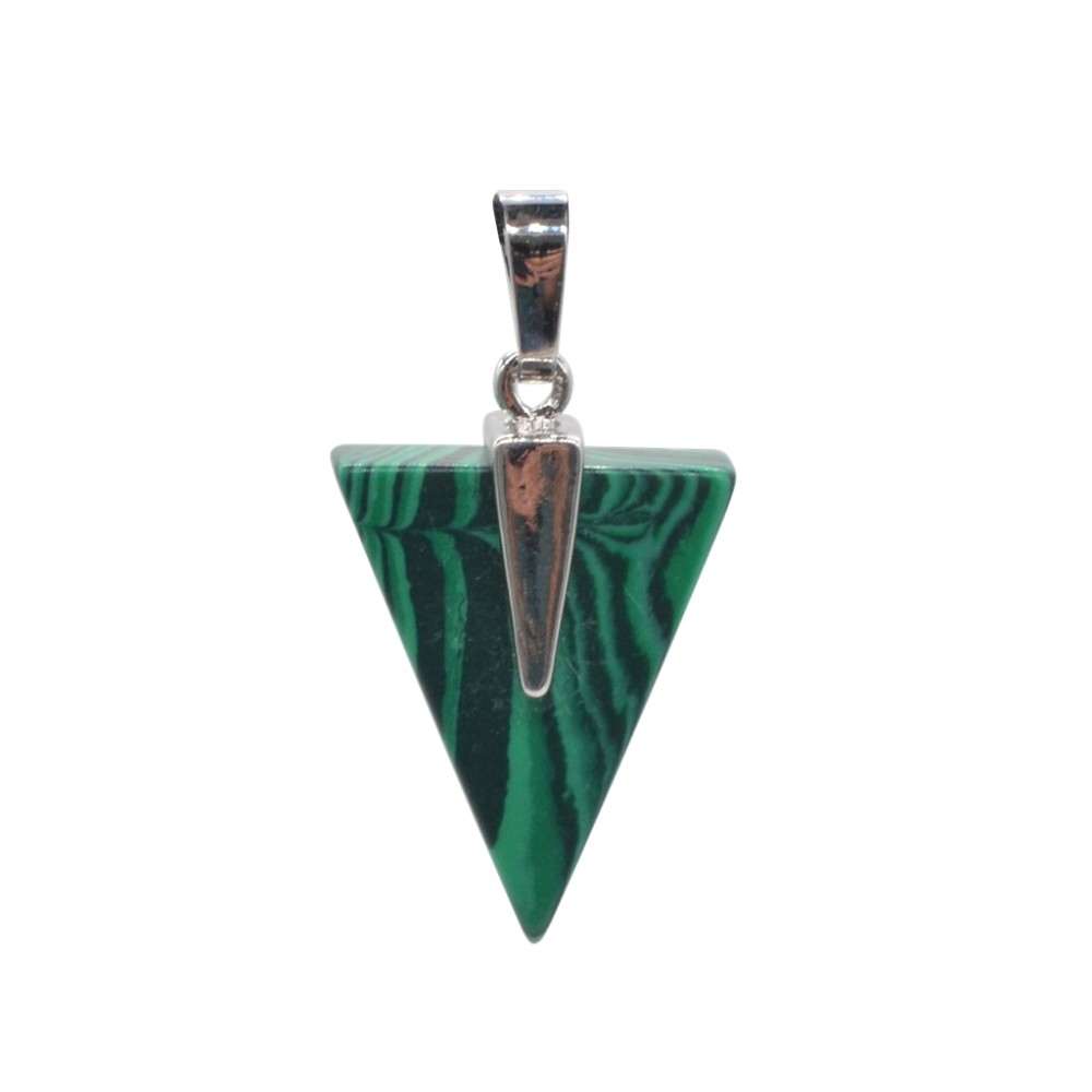Charm Products Malachite Stone Triangle Pendant Silver Finding from China Supplier