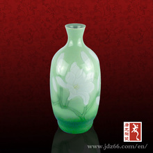 35'' Home Decoration Art Green Glaze Relief Oval Ceramic Flower Vase