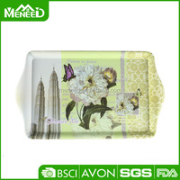 Top grade rectangular handled matte design full flower printing plastic anti-slip melamine wedding serving tray