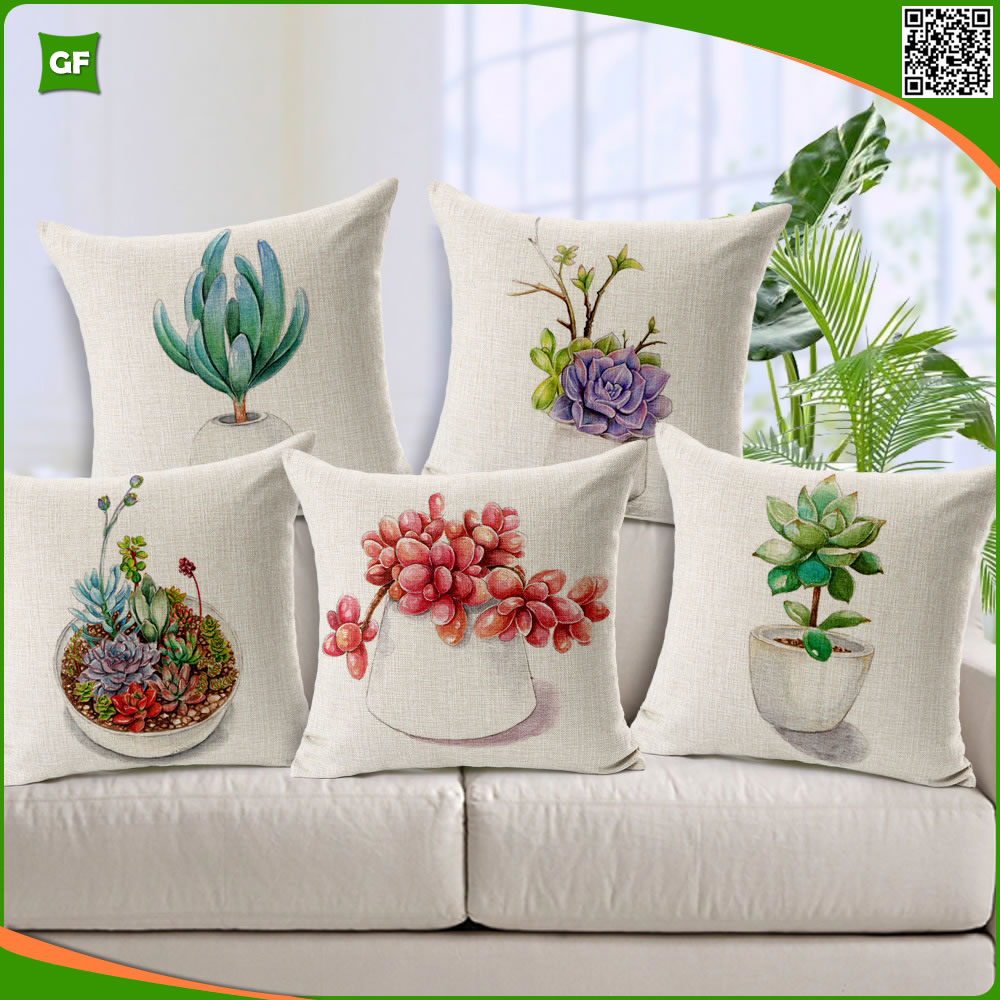45x45cm, 40x40cm Square Custom Botanical Printed Hand Painted Style Pillow Cushion Covers