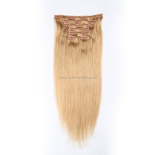HOT SELLING!! Wholesale 7A 100% remy virgin indian human straight clip in hair extension