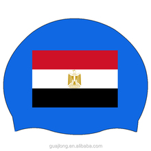 Silicone Funny swimming caps with national flag printed