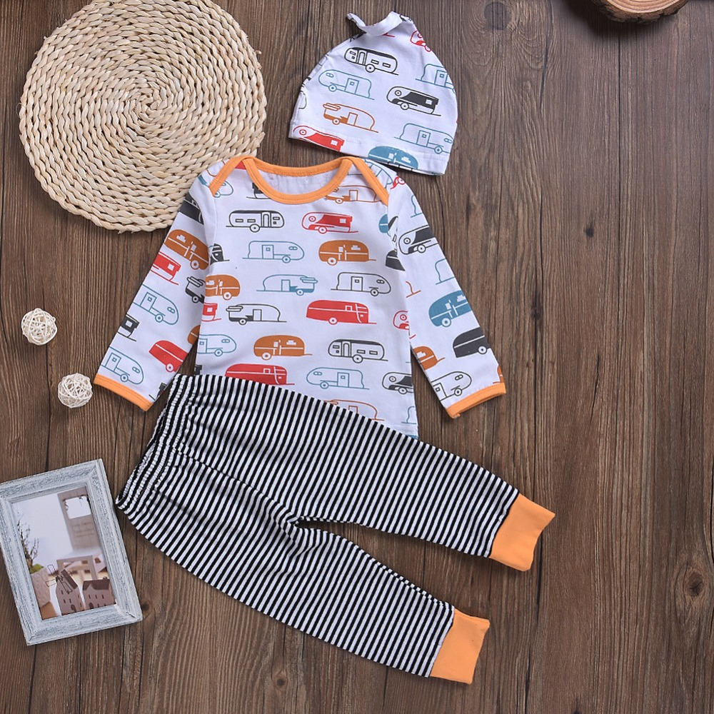 New Arrival Baby Cartoon Clothes Sets Cars printing Pullover Tops And Stripe Casual Pants Hats 3PCS Newborn Baby Boy Costume