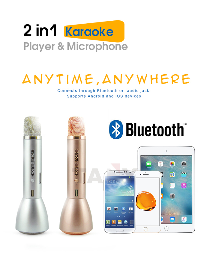 TOP Quality Portable Voice Amplifier Karaoke Microphone Bluetooth