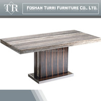 hot sale natural stone marble and wooden dining table for living room furniture